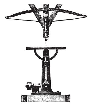 jig: Scroll saw or jig, vintage engraved illustration. Industrial encyclopedia E.-O. Lami - 1875. Illustration