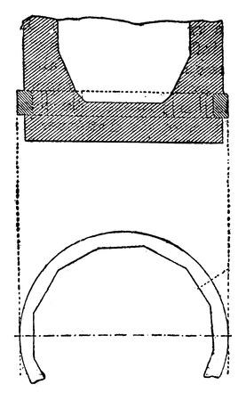 industrial belt: Projectiles copper belt, vintage engraved illustration. Industrial encyclopedia E.-O. Lami - 1875.