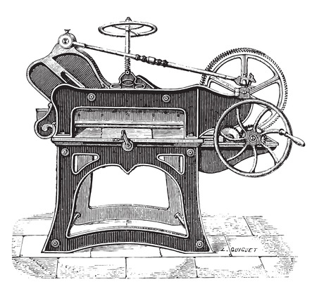 press: Paper cutting, said cutter, vintage engraved illustration. Industrial encyclopedia E.-O. Lami - 1875.