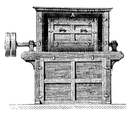 Tonne mixer, Axis of rotation, vintage engraved illustration. Industrial encyclopedia E.-O. Lami - 1875.