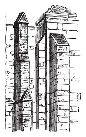 Buttresses, vintage engraved illustration. Industrial encyclopedia E.-O. Lami - 1875. Ilustração
