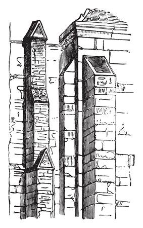 Buttresses, vintage engraved illustration. Industrial encyclopedia E.-O. Lami - 1875. Illustration