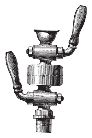 Double tap fitting, vintage engraved illustration. Industrial encyclopedia E.-O. Lami - 1875.