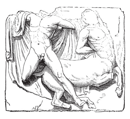 parthenon: Theseus and the Minotaur, Metope of the Parthenon, vintage engraved illustration. Industrial encyclopedia E.-O. Lami - 1875.