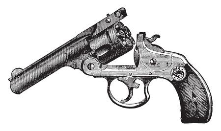 스미스 웨슨 리볼버, 빈티지 새겨진 그림. 산업 백과 사전 E.-O. 라미 - 1875. 일러스트