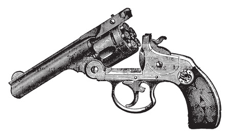Smith and Wesson revolver, vintage engraved illustration. Industrial encyclopedia E.-O. Lami - 1875.