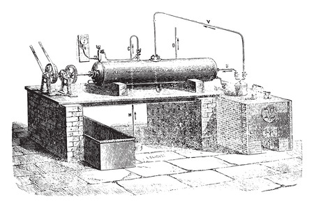 aqueous: L. Droux device for the aqueous decomposition, vintage engraved illustration. Industrial encyclopedia E.-O. Lami - 1875. Illustration