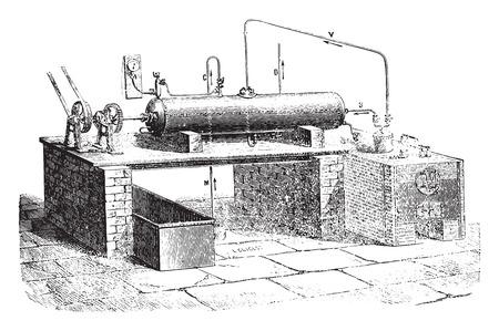 endothermic: L. Droux device for the aqueous decomposition, vintage engraved illustration. Industrial encyclopedia E.-O. Lami - 1875. Illustration
