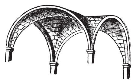 円天井、ヴィンテージには、図が刻まれています。産業百科事典 e. o.ラミ - 1875年。
