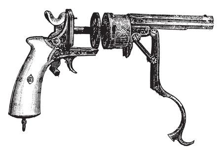 the encyclopedia: Revolver Galand, vintage engraved illustration. Industrial encyclopedia E.-O. Lami - 1875.