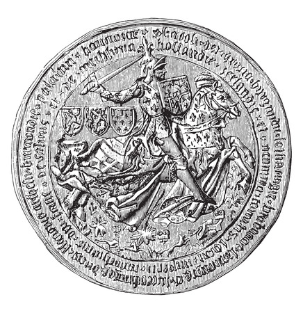 charles: Great Seal of Charles the Bold, Duke of Burgundy, vintage engraved illustration. Industrial encyclopedia E.-O. Lami - 1875. Illustration