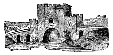 fortified: Lamentano fortified bridge, vintage engraved illustration. Industrial encyclopedia E.-O. Lami - 1875.