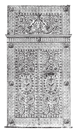 apollo: Forged iron gate and chased the Apollo Gallery, vintage engraved illustration. Industrial encyclopedia E.-O. Lami - 1875.