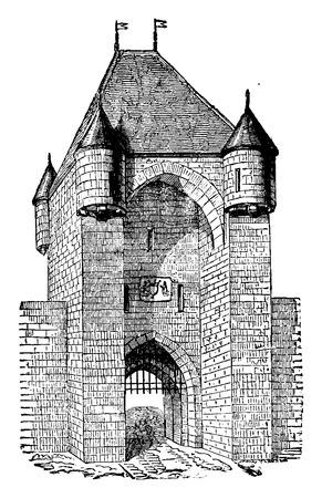 Moret Gate, thirteenth century, vintage engraved illustration. Industrial encyclopedia E.-O. Lami - 1875. Illusztráció
