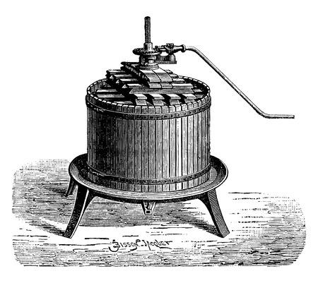Weergave van een pers, vintage gegraveerde illustratie. Industriële encyclopedie E.-O. Lami - 1875. Stock Illustratie