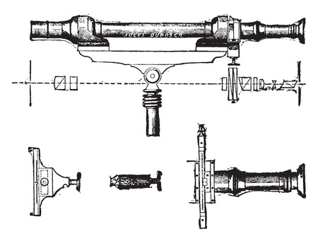 polarization: Saccharimeter, vintage engraved illustration. Industrial encyclopedia E.-O. Lami - 1875. Illustration