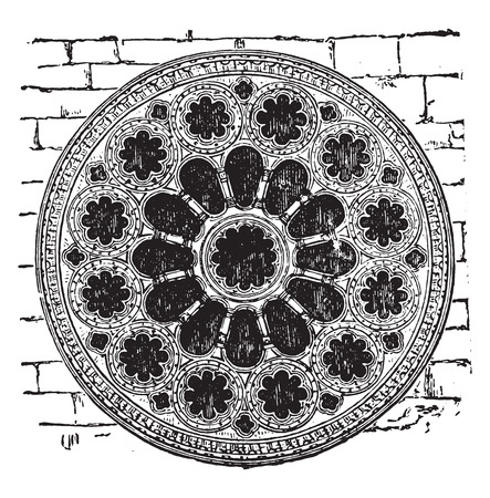 Rose of the cathedral of Chartres, the twelfth century, vintage engraved illustration. Industrial encyclopedia E.-O. Lami - 1875.