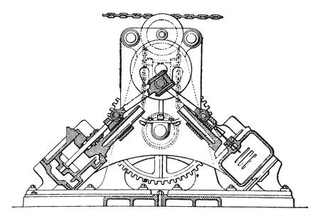 Farcot servo winch, vintage engraved illustration. Industrial encyclopedia E.-O. Lami - 1875. Ilustrace