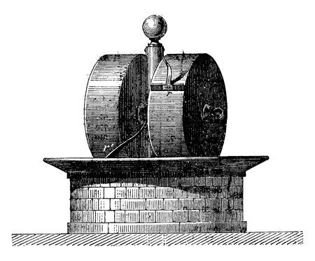 Ruote di fabbrica, vintage illustrazione inciso. Enciclopedia Industrial E.-O. Lami - 1875.