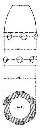 projectile: Projectile fins, 4 shells, vintage engraved illustration. Industrial encyclopedia E.-O. Lami - 1875. Illustration