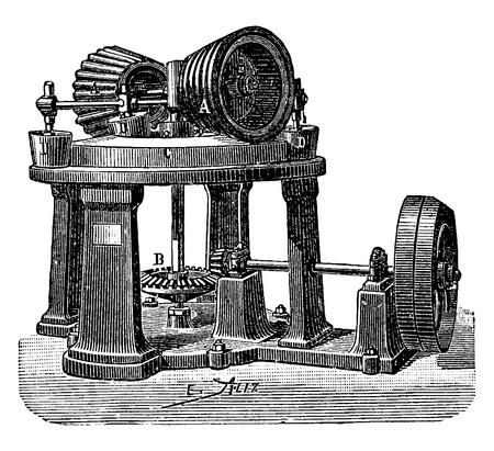 industrial machine: Threshing machine dough, vintage engraved illustration. Industrial encyclopedia E.-O. Lami - 1875. Illustration