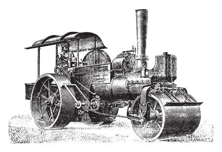 Steam roller for rolling pavement, vintage engraved illustration. Industrial encyclopedia E.-O. Lami - 1875.