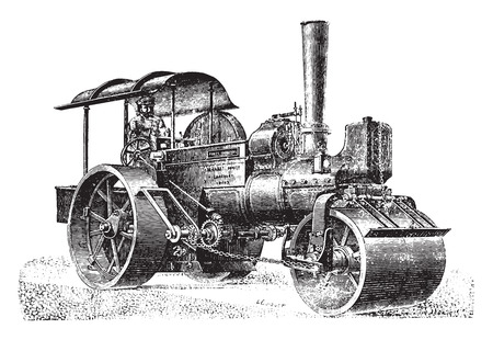 Steam roller for rolling pavement, vintage engraved illustration. Industrial encyclopedia E.-O. Lami - 1875.