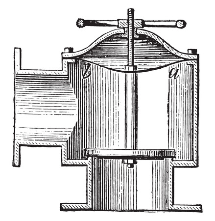 structure metal: Faucet valve for gas distribution pipelines, vintage engraved illustration. Industrial encyclopedia E.-O. Lami - 1875.