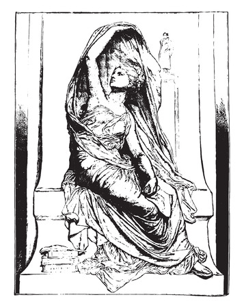 La Pensee, by Chapu, vintage engraved illustration. Industrial encyclopedia E.-O. Lami - 1875. 일러스트