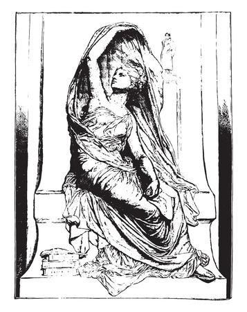 henri: La Pensee, by Chapu, vintage engraved illustration. Industrial encyclopedia E.-O. Lami - 1875. Illustration