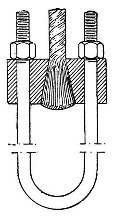 Attached cable wire suspension bridges, vintage engraved illustration. Industrial encyclopedia E.-O. Lami - 1875.