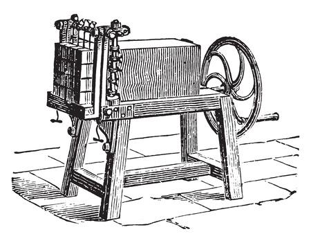 cutter: Cutter brick soap bars, vintage engraved illustration. Industrial encyclopedia E.-O. Lami - 1875. Illustration
