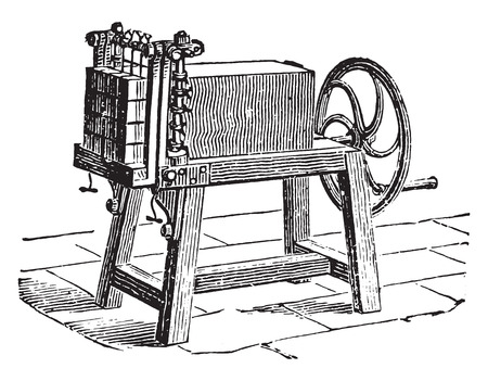 Cutter brick soap bars, vintage engraved illustration. Industrial encyclopedia E.-O. Lami - 1875. Çizim