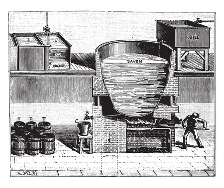 factory workers: Boiler for the manufacture of soft soap, vintage engraved illustration. Industrial encyclopedia E.-O. Lami - 1875.