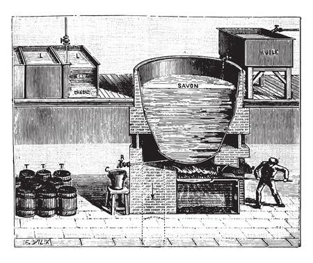 Boiler voor de productie van zachte zeep, vintage gegraveerde illustratie. Industriële encyclopedie E.-O. Lami - 1875.