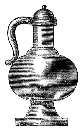 earthenware: Kettle fifteenth century, vintage engraved illustration. Industrial encyclopedia E.-O. Lami - 1875.