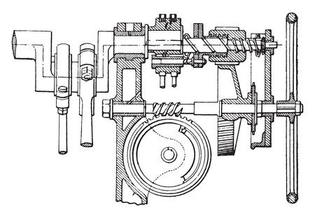 windlass: Farcot servo winch, vintage engraved illustration. Industrial encyclopedia E.-O. Lami - 1875. Illustration
