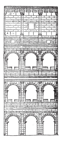 Section and elevation of the Colosseum, completed under Titus, vintage engraved illustration. Industrial encyclopedia E.-O. Lami - 1875. Illustration