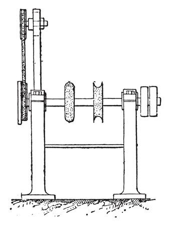 industrial machine: Polishing machine, vintage engraved illustration. Industrial encyclopedia E.-O. Lami - 1875.