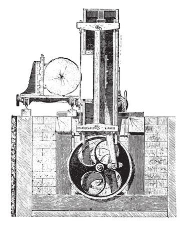 reciprocate: Vertical reciprocating saw blade with a single truck for logs, vintage engraved illustration. Industrial encyclopedia E.-O. Lami - 1875. Illustration