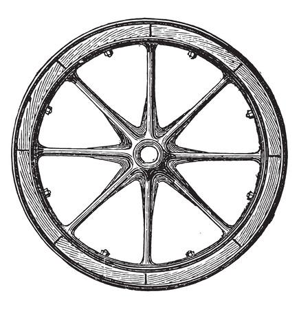 Gemengde wiel, Arbel systeem met hub en ijzeren rails en de rand bais, vintage gegraveerde illustratie. Industriële encyclopedie E.-O. Lami - 1875.