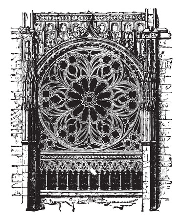 church worship: Rose of the cathedral of Rouen, the fourteenth century, vintage engraved illustration. Industrial encyclopedia E.-O. Lami - 1875.