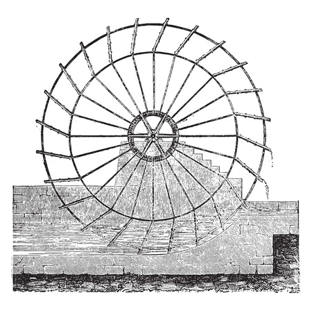Wheel to raise water and bring to the salt pans, vintage engraved illustration. Industrial encyclopedia E.-O. Lami - 1875. Ilustração