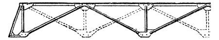 assembling: Assembling a portable bridge beam, vintage engraved illustration. Industrial encyclopedia E.-O. Lami - 1875.