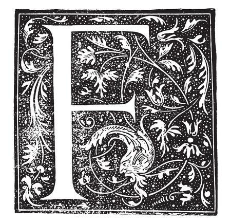 the encyclopedia: Ornate letter, vintage engraved illustration. Industrial encyclopedia E.-O. Lami - 1875.