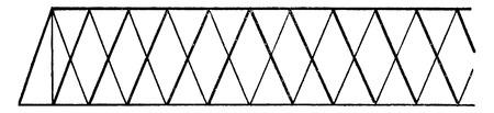 Diamond system, or isometric, vintage engraved illustration. Industrial encyclopedia E.-O. Lami - 1875.