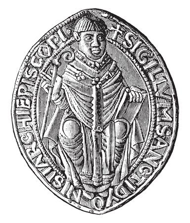 abbey: Seal of the abbey of Saint-Denis (twelfth century), vintage engraved illustration. Industrial encyclopedia E.-O. Lami - 1875. Illustration