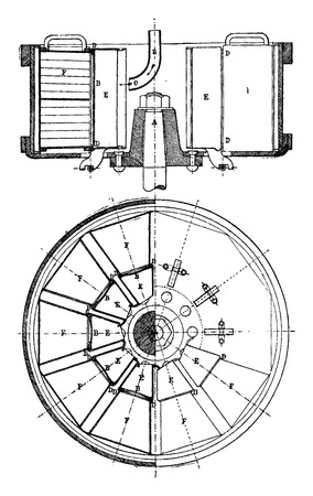 sectional: Sectional plan and the turbine Langen, vintage engraved illustration. Industrial encyclopedia E.-O. Lami - 1875.
