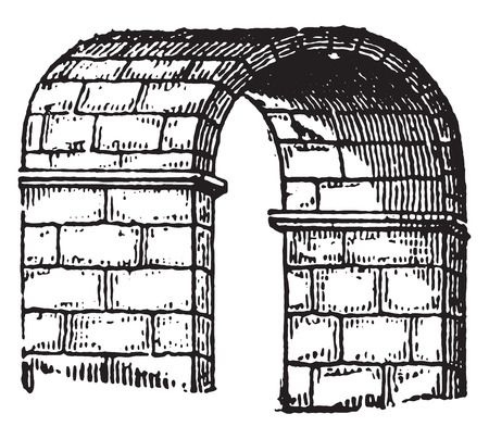 stone arch: Barrel vault, vintage engraved illustration. Industrial encyclopedia E.-O. Lami - 1875.