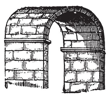 archway: Barrel vault, vintage engraved illustration. Industrial encyclopedia E.-O. Lami - 1875.